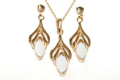 9ct Gold Opal Pendant and Earring Set Made in UK Gift Boxed