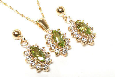 9ct Gold Peridot and CZ cluster Pendant and Earring Set Gift Boxed Made in UK