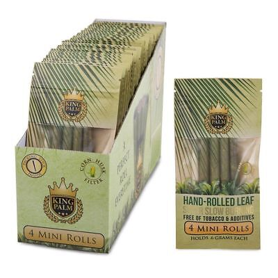 3x Pouches ( King Palm Mini Rolls ) Real Leaf No Chemicals - 4 Leaves Per Pouch