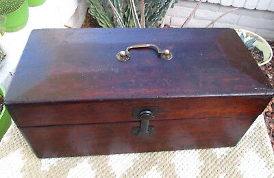 Antique Mission Style Box Arts Crafts Dovetails Farm Barn Tool Box Old