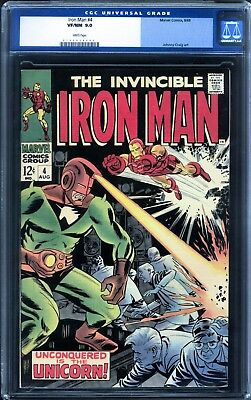 Iron Man 4 CGC 9.0 VF/NM (1968 Series)with White Pages (Avengers)