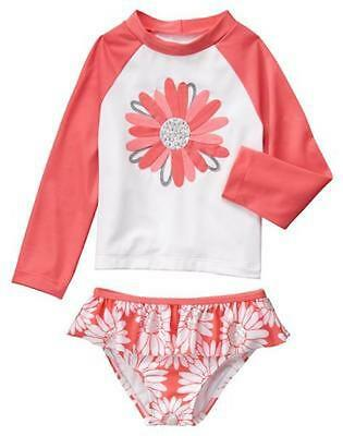 NWT Gymboree Kitty in Pink Daisy Rash Guard SET Swim shop Toddler Girls