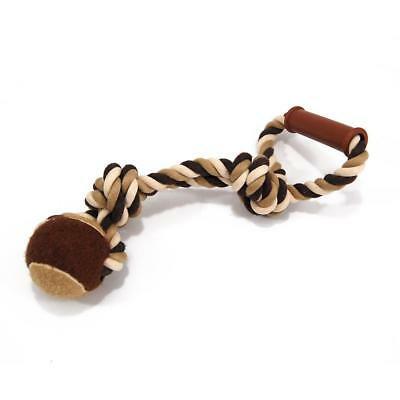 "New Head To Tail Brown & Tan 13"" Durable Rope Ball Large Dog Pet Pull Tug Toy"