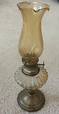 Vintage Mini Small Clear Glass with Brass Bottom Oil Lamp Made In Hong Kong
