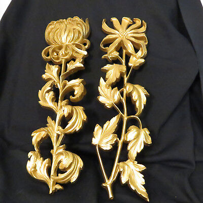 Pair of syroco style Gold chrysanthemums wall hanging art mid century wall decor