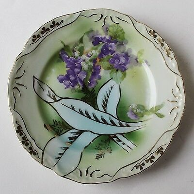 Antique Three Crown China Germany Small Green Plates Violet Flowers Set of 9
