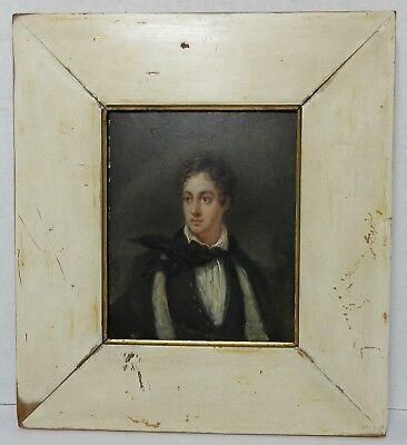 Antique EARLY 19TH CENTURY MINIATURE PORTRAIT PAINTING YOUNG MAN