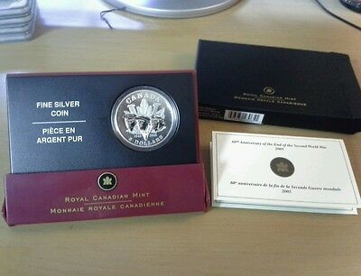 2005 Canadian 60th Anniversary of the end of the Second World War Silver Coin