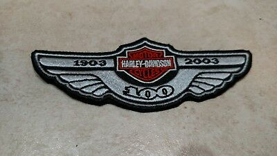 Harley-Davidson100th Anniversary Wing Patch 1903-2003Bar & Shield On Wing