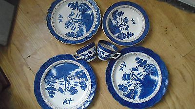 """BOOTHS REAL OLD WILLOW 5 items 3 dinner plates , 8"""" dish, 2 cups"""
