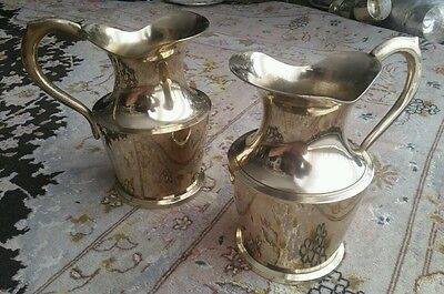Pair of Rare Small Antique English Victorian Brass Jugs in Beautiful Condition.