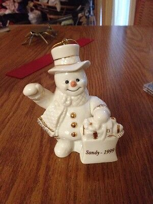 Lenox Christmas Ornament Holiday 1999 SANDY Porcelain Snowman With Gift Bag