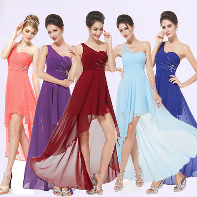 Ever-Pretty One Shoulder High-low Beaded Bridesmaid Party Dress Prom Gown 08100