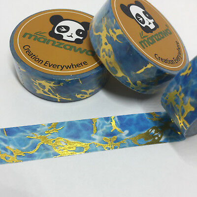 Washi Tape Gold Foil & Blue Marble 15Mm Wide X 10Mtr Roll Plan Craft Wrap Scrap
