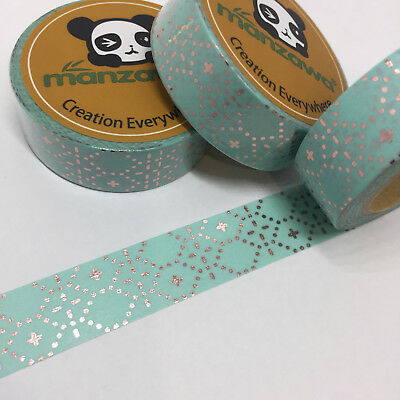 Washi Tape Bronze Foil Dotted Diamonds On Mint 15Mm Wide X 10Mtr Roll Plan Wrap