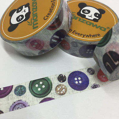Washi Tape Granny's Buttons Notions 15Mm Wide X 10Mtr Roll Plan Wrap Scrap Craft