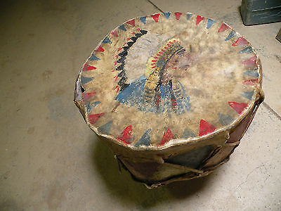 Antique museum piece large Native American, pueblo metal & leather drum, painted
