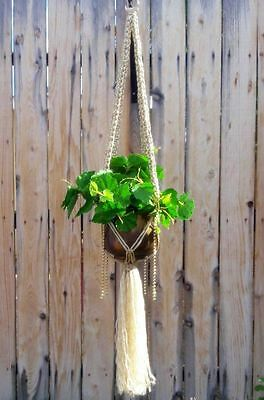 """Large Macrame Plant Hanger~Pearl Glam~Square Knot & Gold Beaded~54"""" Length"""