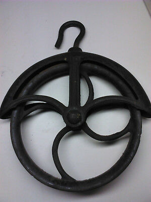 Large Antique no 10 cast iron pulley - industrial nautical decor