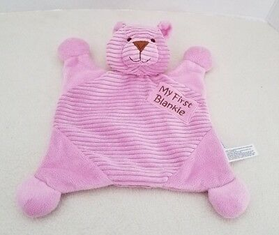 Baby Security Blanket Plush Lovey My First Blankie Pink Bear Babies R Us 10.5""