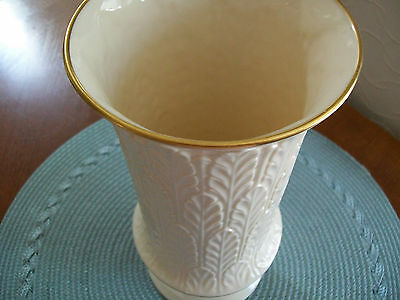 "LENOX IVORY 9-1/2"" VASE WITH 24k GOLD TRIM/MADE IN THE USA"