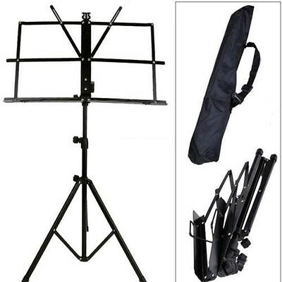 Black Music Conductor Stand Adjustable Metal Sheet Tripod Holder Folding StageD