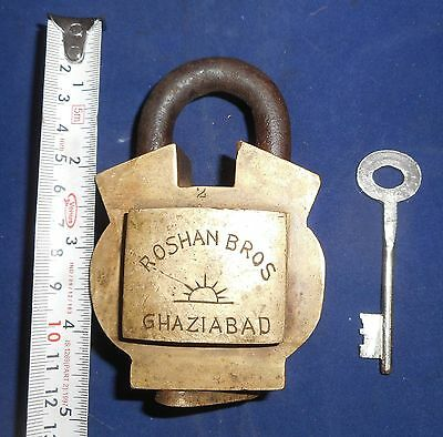 India Antique Brass handmade Padlock with Keyworking condition Br244