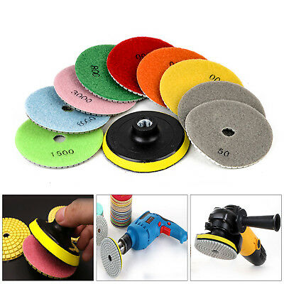 10pcs 4Inch Diamond Polishing Pads For Granite Marble Concrete Stone Wet/Dry Kit