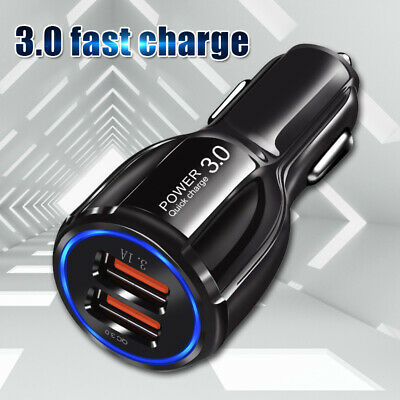 Dual USB Port QC 3.0 Quick Car Charge Adapter Fast Charger Cable For Smart Phone