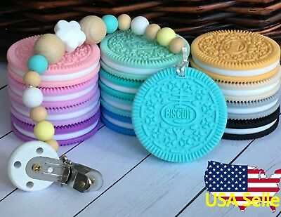 Silicone Teething Necklace Nursing Jewelry Biscuit Cookie Teether