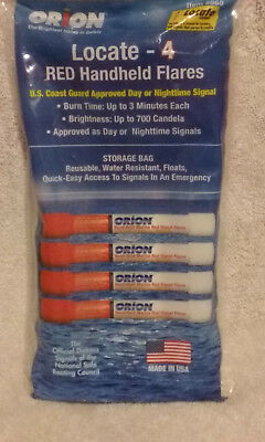 Orion Locate - 4 RED Handheld Flares Day/Night Coast Guard Approved # 865 USA