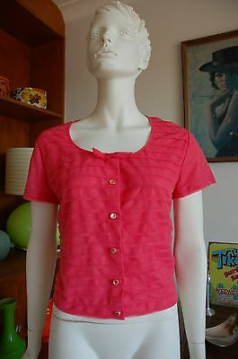 Early 60s Late 50s MEDIUM / LARGE Coral Atomic Fluoro Pinup Blouse