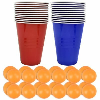 Original Beer Pong Adult Drinking Game Set 24 Red Plastic Cup 24 Ping Pong Balls