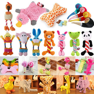 Pet Dog Toy Puppy Chew Squeaker Squeaky Plush Sound Cute Cartoon Funny Toy Lot
