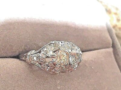 Art Deco Old European Cut Diamond Platinum Ring Antique Vintage 1.60 ctw.