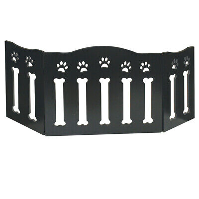 """Wooden Paws and Bones Pet Dog Gate - Free Standing Tri-Fold - 19"""" Tall 47"""" Wide"""