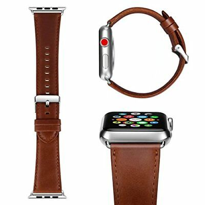 Apple Watch Sport Band Leather 42mm Replacement Band For Series 3 2 1 Red Brown