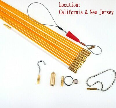 33' Fiberglass Running Wire Cable Coaxial Electrical Fish Tape Pull Push Kit