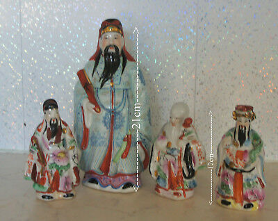 Vintage Chinese Old Wise Man Porcelain/Ceramic Hand Painted Figurines