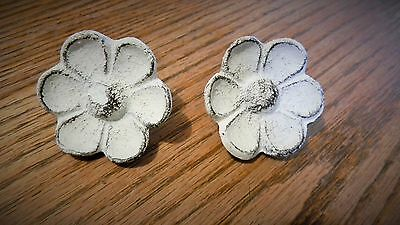 Set of 4 Antique Replica White Cupped Flower Drawer Pull Knob Cast Iron