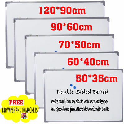 Double Sided Magnetic School Office Notice Whiteboard Aluminium Frame DRYWIPE