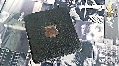 Vintage 1910s 20s Leather, Silver & Chrome Card Case. Unisex. VERY STYLISH!