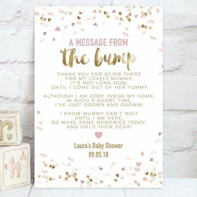 Baby Shower Table Sign Message From Bump Poem Gold Effect & Pink or Blue (BS8)