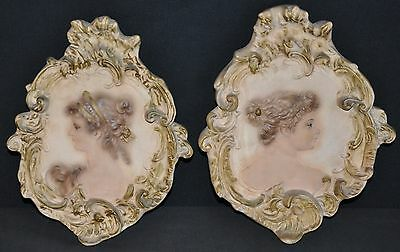 Vintage Chalkware Victorian Lady/Women Wall Plaques 2