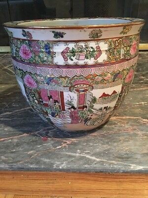 Antique Chinese Famille  Rose Pottery Planter Fishbowl-LARGE-Signed-Women Flower