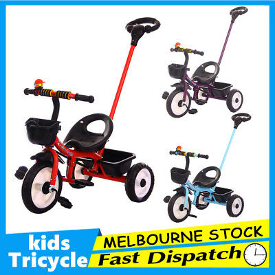 3 Wheel Bike Bicycle Tricycle Trike Push Handle Basket Kids Children Toddler Toy