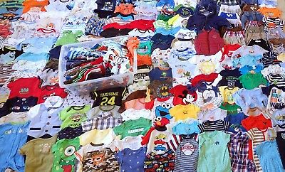 HUGE LOT of 100 BABY BOY 0-6 Months CLOTHES Onsies Shoes Jumpsuits Pants Tops