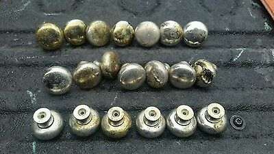 "20 Total Vintage Brass Round Drawer Pulls Knobs 1 1/4"" With Patina"