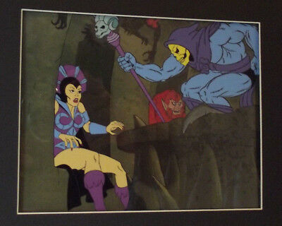 He-Man Skeletor & Evil-Lyn Original Animation Production Cel Matted