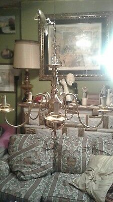 Vintage Victorian Solid Brass Chandelier Ceiling Light Fixture 5 Lights